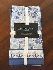 "CYNTHIA ROWLEY 4pc NAPKINS Blue White FLORAL MEDALLION Cotton 20"" Square NWT"