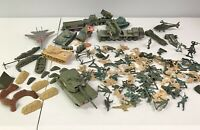 Hige Lot Of Vintage To Modern Army Men Tanks Missle Launchers Barricades
