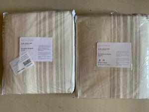 "Pottery Barn Set 2 Riviera Striped Linen/Cotton Curtains 96"" sandalwood"