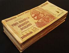 100 x 200 Million Zimbabwe Dollars Banknotes AA 2008 Bundle 100PCS Currency Lot