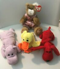 TY Beanie Babies: Pouncers, Quackers, Rover, & Happy Hippo