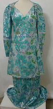 Vintage 80's Colorful Blue Green Silver Brocade Like Rhinestone Bias Cut Dress