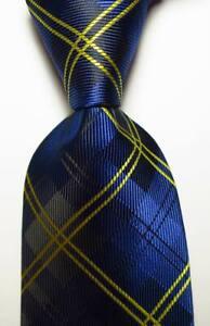 New Classic Checks Dark Blue Yellow JACQUARD WOVEN Silk Men's Tie Necktie
