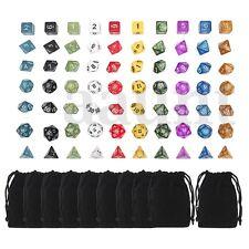 10 set 70pcs Polyhedral Dice Board RPG Game 4D 6D 8D 10D 12D 20D with 10 Bags