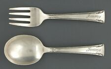 "International Sterling Silver Serenity Baby Spoon Baby Fork  4 1/4"" Mono Jimmy"