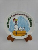 Charles Schulz Schmid Peanuts 1975 Christmas Snoopy and Woodstock Plate Org Box