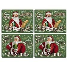 Pimpernel Placemats Santas List 16x12 Set of 4 Christmas Holiday Cork Backed