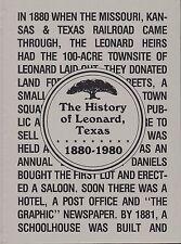 History of Leonard Texas 1880 1980 Pictorial Genealogy Historical Society Family