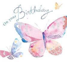 """Carte d'anniversaire """" pailleté motif papillon """" grand carré taille 15.9cm x"""