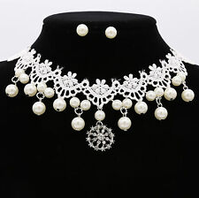Handmade Lace Pearl Crystal Choker Collar Chain Necklace Earrings Set Jewelry UK