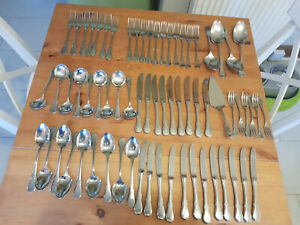 Large Quantity Vintage WMF Cromargan Wurzburger Facet Stainless Steel Cutlery