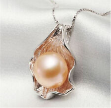 AAA 10-11mm Genuine charming south sea gold pink pearl pendant silver chain