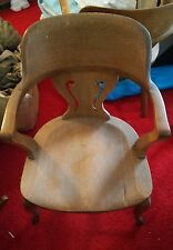 Vintage Oak Teachers Office Desk Chair Captain #2 Bankers Antique