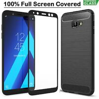 Samsung J4 + Case Armor Cover + Tempered Glass Film For Samsung Galaxy J4 Plus