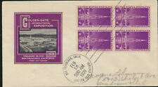 Golden Gate Exposition 1939 addressed Cachet Block FDC Unsealed LOT A262