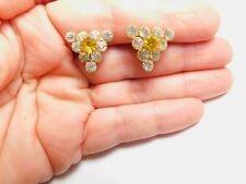 Clear Yellow Rhinestone Triangle Screw Back Earrings Vintage