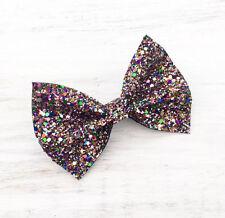 kaleidoscope multi colour sparkly glitter hair bow - Kawaii - Mermaid