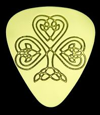 CELTIC HEART SHAMROCK - Solid Brass Guitar Pick, Acoustic, Electric, Bass