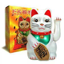 "LG BECKONING CAT Wealth Lucky Waving Kitty Maneki Neko 8"" Large White Japanese"