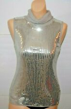 Body Central Sequin Shirt Tank Turtleneck Gray Silver Medium
