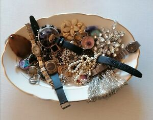 Modeschmuck Einzelteile alt 835 teilweise defekter Schmuck Strass Perlen Uhren