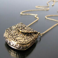 Women Decor Vintage Unique Bag Shape Carved Locket Pendant Long Chain Necklace