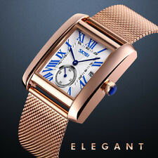Men's Exquisite Analog Stainless Steel Waterproof Square Quartz Watches Formal