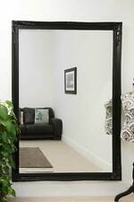 Extra Large Classic Ornate Styled Black Mirror 6Ft7 X 4Ft7 201cm X 140cm