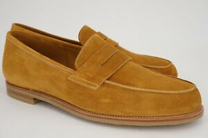 $1495   NEW JOHN LOBB 10 CAMPUS GOLDEN WHEAT SUEDE PENNY LOAFER RUBBER OUTSOLE