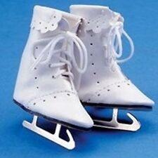 """FancyWhite Ice Skates Real Metal Blades.1-15/16""""L 14"""" Mary Hoyer 10""""Ann Estelle"""
