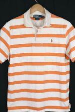 Polo Ralph Lauren Mens Rugby Sz Large Orange Striped Custom Fit Shirt