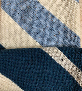 """Hand Knit by me 26"""" Square Diagonal Stripes Ivory Blues Carriage Baby Blanket"""