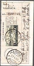 ITALIA COLONIE ETIOPIA RICEVUTA di VAGLIA POSTALE da HARRAR 1940 LIRE 1 VERDE