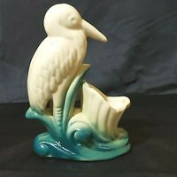 "Vintage Egret Shore Bird Planter White/Green Ceramic 6-1/2""  USA NSCO Preowned"
