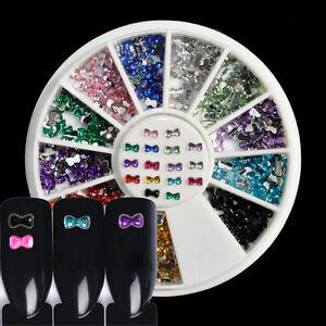 3D Nail Art Decoration Rhinestones Diamante Crystals Spangles Metallic Bows 3mm
