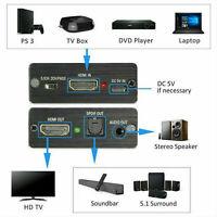 Convertitore estrattore splitter audio stereo Toslink ottico HDMI a HDMI + SPDIF