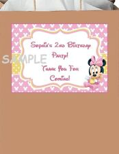 18 Personalized Minnie Mouse party stickers,favors,birthday,labels,tags,supplies