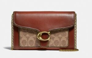 Coach Tabby Chain Clutch In Signature Canvas With Beadchain 6909