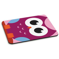 OWL LARGE FACE RECTANGLE PC COMPUTER MOUSE MAT PAD - Cute Animal Pink Purple