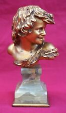 Original Enfant Rieur Laughing Child Gilt Bronze Sculpture Injalbert Siot Paris