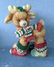 """Santa's Special Deerlivery """"Socks"""" Reindeer Figurine ~ Mary Rhyner ~ 1994 Enesco"""