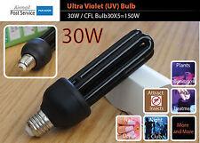 30W UV Ultra Violet Bulb 220V E27 ES Screw Mount Black Light Lamp CFL Save 150W