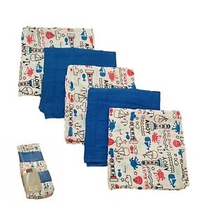 5 Pack Muslin Squares Reuseable 100% Cotton Baby Boy Blue Bib Cloth Sensitive