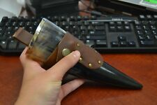 """BUFFALO HORN GAME OF THRONE MEDIEVAL DRINKING CUP LEATHER HOLSTER 10"""" #H"""