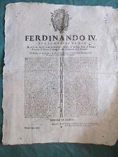 38-1802 GIUGNO FERDINANDO IV BORBONE DECRETO REALE RIENTRO DEL RE NAPOLI PALERMO