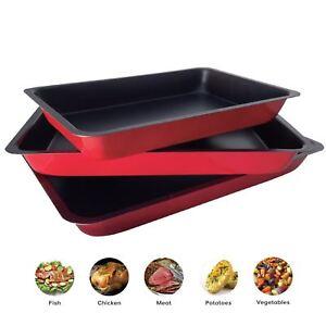 3 Piece Non Stick Baking Roasting Cooking Trays Set Oven Dish Bakeware Bake Pan