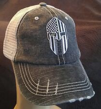 Veterans Military Support Spartan Green Line Flag Distressed Trucker Hat/Cap