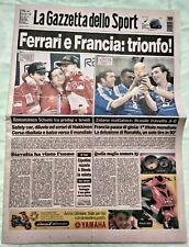 GAZZETTA DELLO SPORT 13 07 1998 FERRARI FRANCIA CAMPIONI DEL MONDO SCHUMACHER