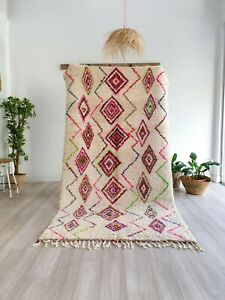 Vintage Moroccan rug, Handmade wool rug, Authentic Beni Ourain rug berber rug