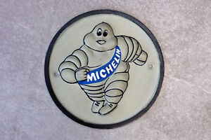 MICHELIN MAN Sign Cast Iron Bibendum 60s Repro Wall Plaque Garage Tyre 18.5cm